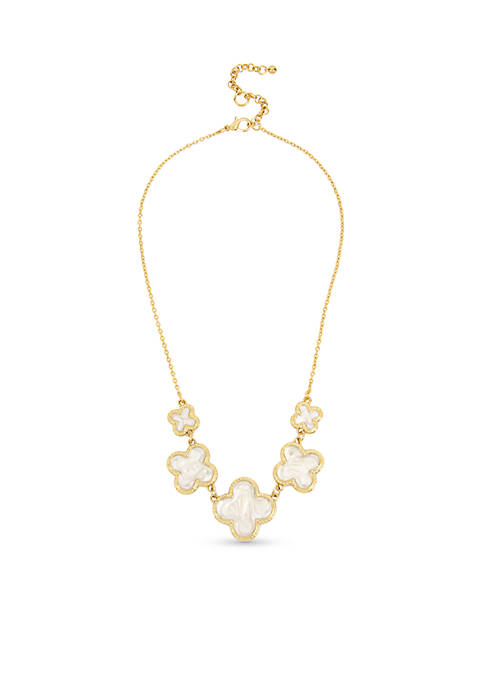 Crown & Ivy™ Gold-Tone Clover Frontal Necklace