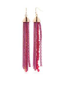 Gold-Tone Pink Palace Tassel Earrings