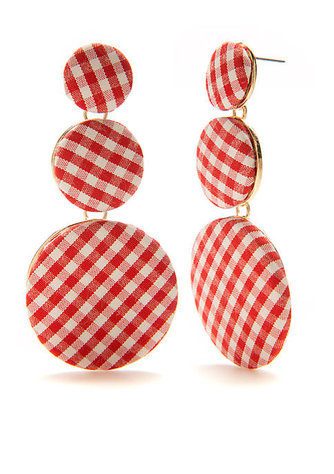 Crown & Ivy™ Gold-Tone Red White Gingham Drop