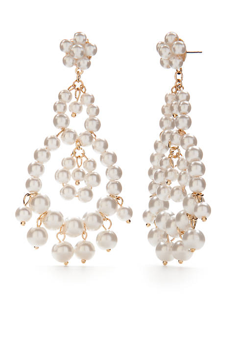 Crown & Ivy™ Gold-Tone Pearl Beaded Chandelier Earrings