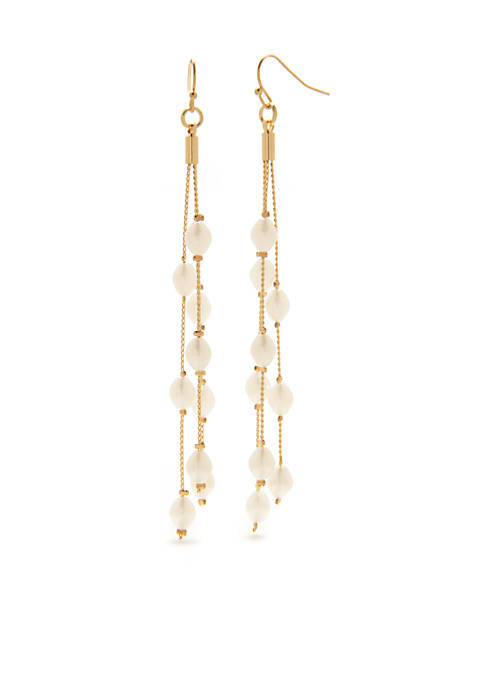 Crown & Ivy™ Gold-Tone Pearl Linear Drop Earrings