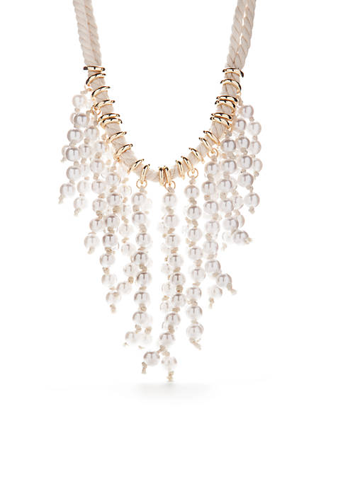 Crown & Ivy™ Gold-Tone Pearl Beaded Bib Necklace