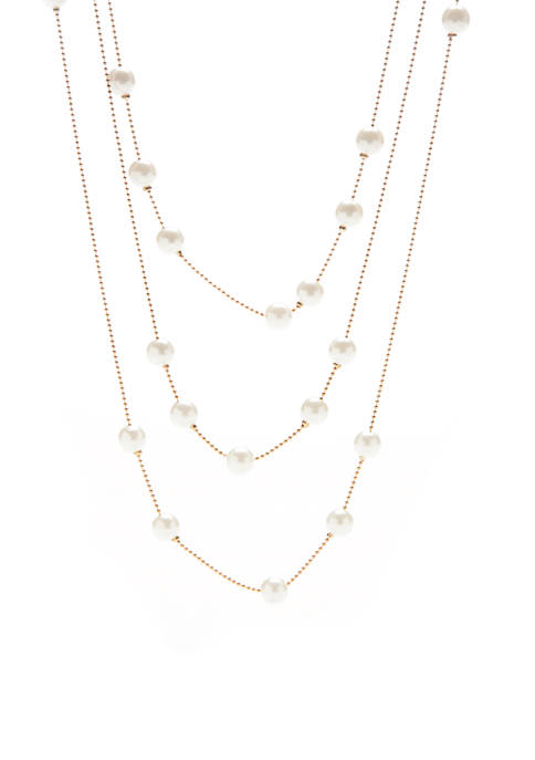 Crown & Ivy™ Gold-Tone 3-Strand Pearl Illusion Necklace
