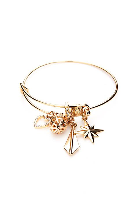 Crown & Ivy™ Crystal Gold-tone Charm Bracelet