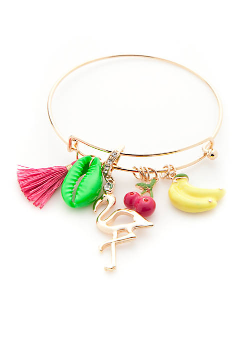 Gold-Tone Preppy Picnic Charm Bangle Bracelet