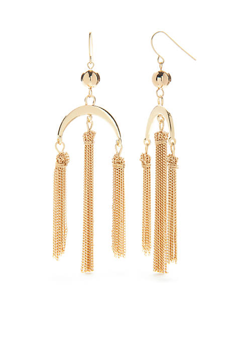 Crown & Ivy™ Gold-Tone Pink Palace Tassel Chandelier