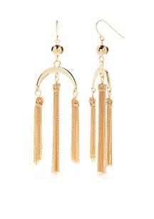 Gold-Tone Pink Palace Tassel Chandelier Earrings