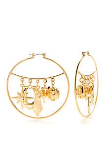 Gold-Tone Charm Hoop Earrings