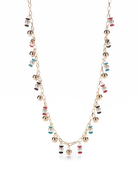Crown & Ivy™ Sorbet Fun Gold-Tone Beaded Necklace
