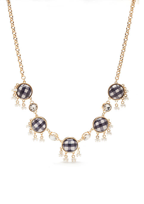 Crown & Ivy™ Gold-Tone Gingham Statement Necklace