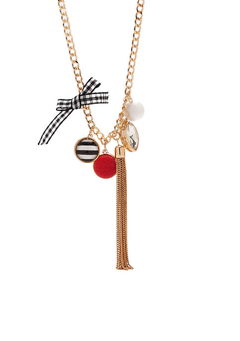 Crown & Ivy™ Gold-Tone Multi Charm Tassel Necklace
