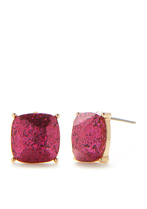 Crown & Ivy™ Gold-Tone Pink Palace Square Stud