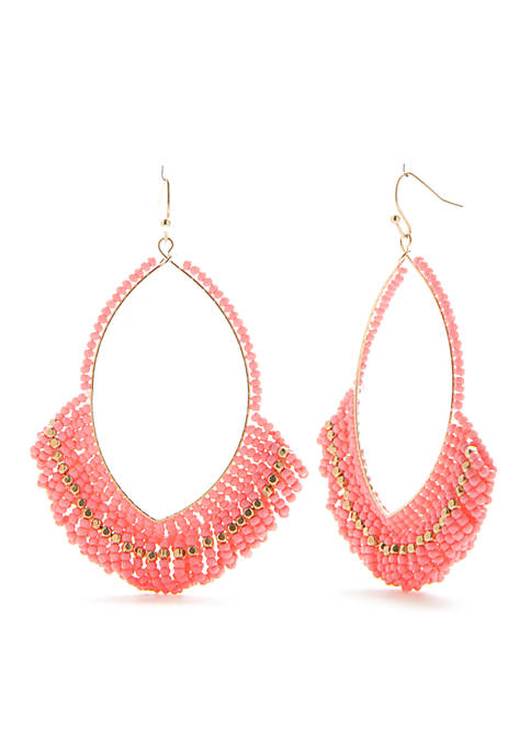 Crown & Ivy™ Gold-Tone Pink Palace Beaded Hoop