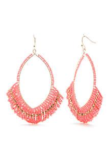 Gold-Tone Pink Palace Beaded Hoop Earrings