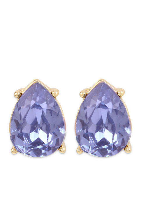 Crown & Ivy™ Lavender Tear Drop Stone Stud