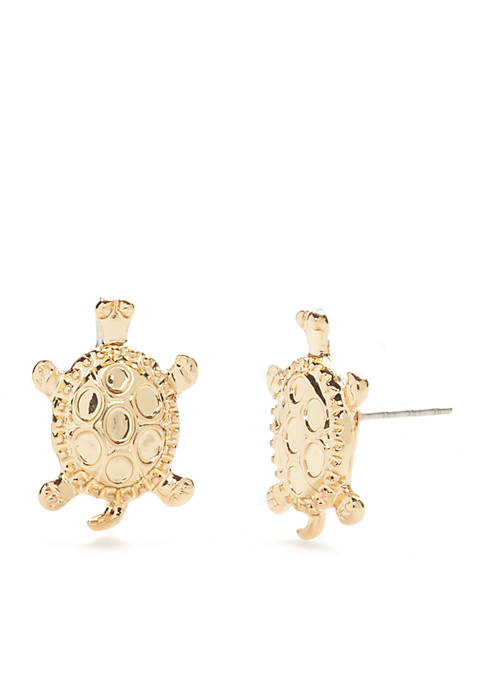 Crown & Ivy™ Gold-Tone Turtle Stud Earrings