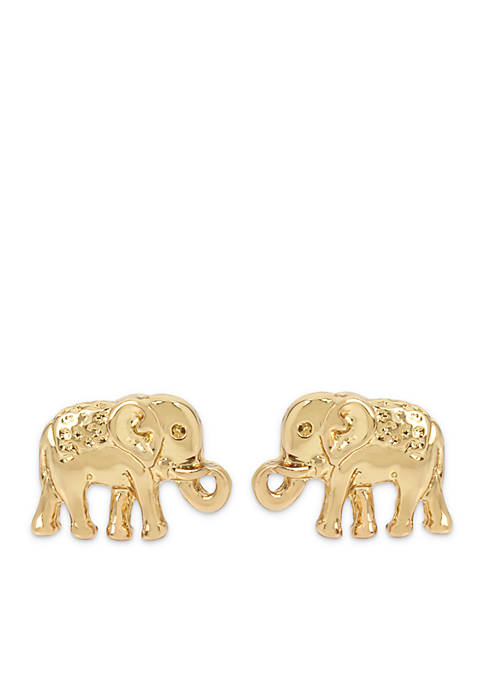 Crown & Ivy™ Gold Elephant Stud Earring