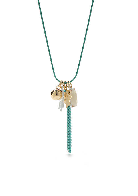 Crown & Ivy™ Gold-Tone Montauk Palm Charm Necklace