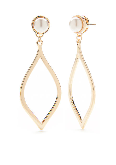 Crown & Ivy™ Gold-Tone Pearl Drop Earrings