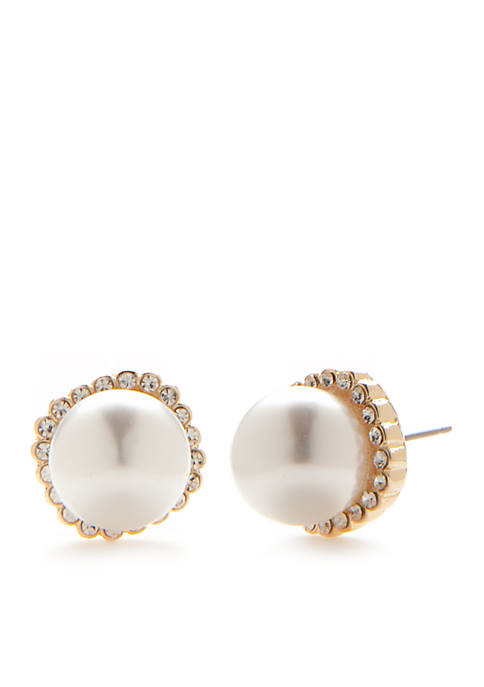 Crown & Ivy™ Gold-Tone Preppy Picnic Pearl Stud