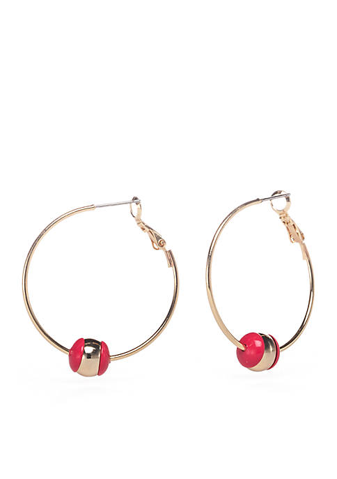 Crown & Ivy™ Gold-Tone Ball Cap Hoop Earrings