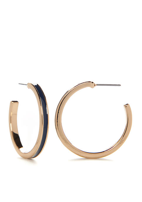 Crown & Ivy™ Gold-Tone Enamel Hoop Earrings