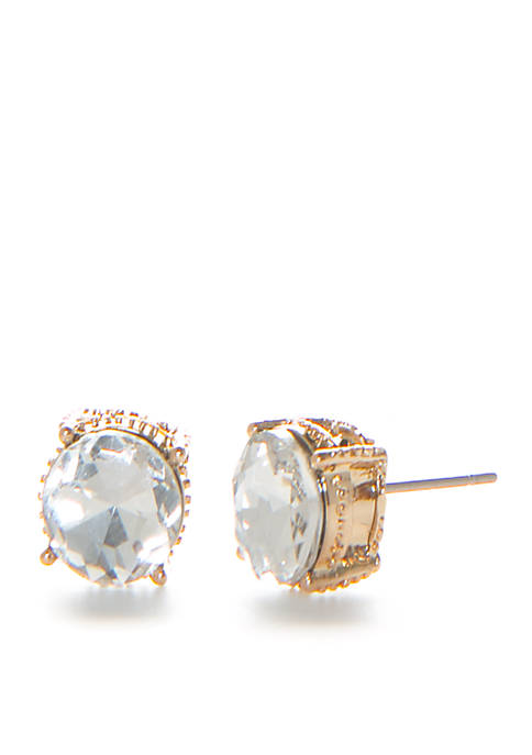 Gold-Tone Clear Stud Earrings