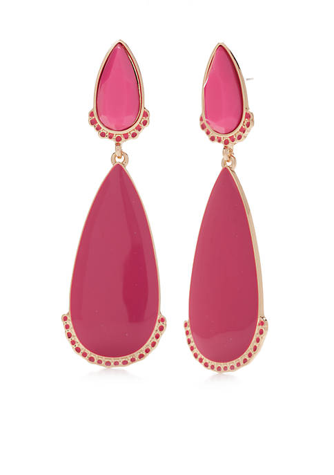 Crown & Ivy™ Gold-Tone Pink Flora Drop Earrings