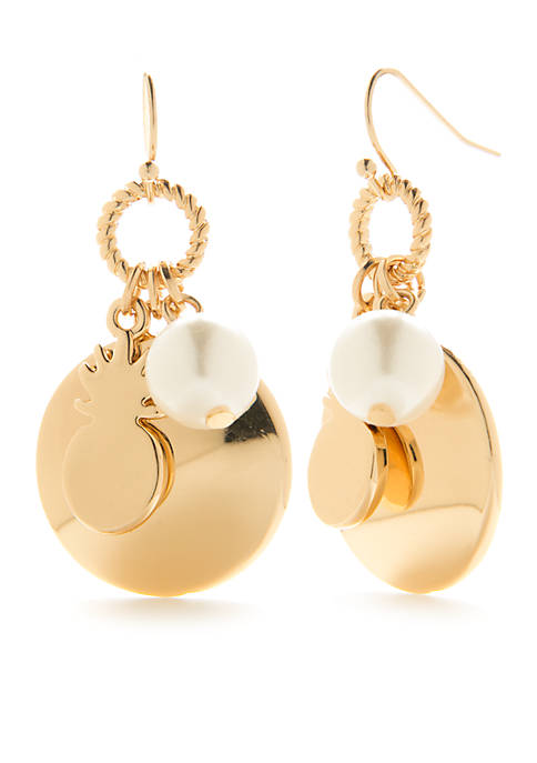 Crown & Ivy™ Gold-Tone Picnic Party Pearl Drop