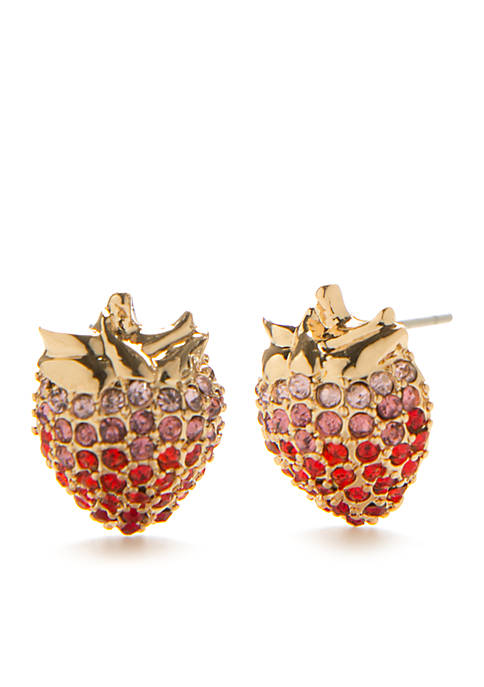 Crown & Ivy™ Gold-Tone Picnic Party Strawberry Stud