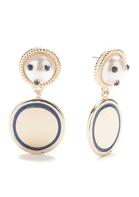 Crown & Ivy™ Gold-Tone Pearl Disc Drop Earrings