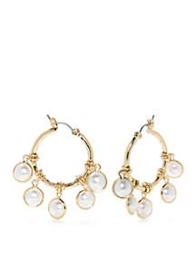 Gold-Tone Pearl Hoop Earrings