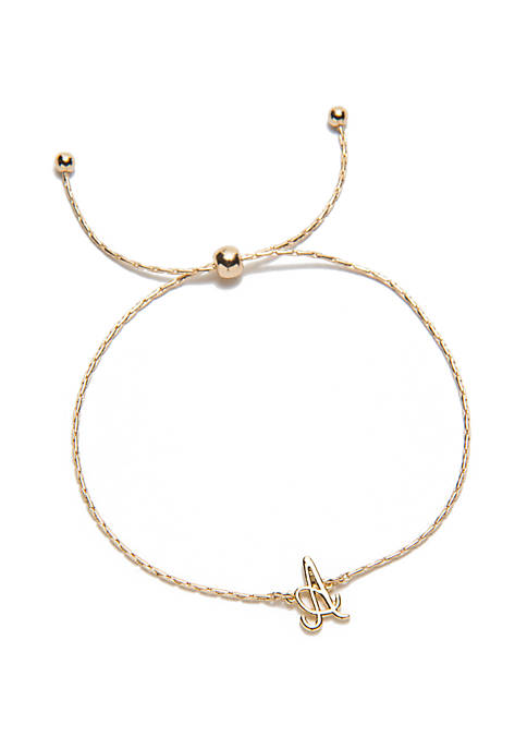 Crown & Ivy™ Gold Tone Initial Slider Bracelet