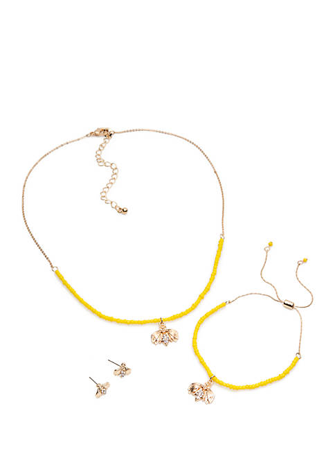 3 Piece Tropical Carded Necklace And Earring Set