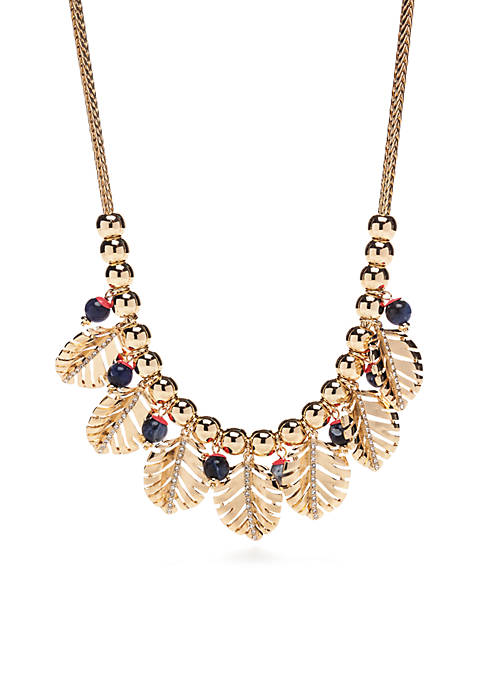 Crown & Ivy™ Gold-Tone Palm Leaf Statement Necklace