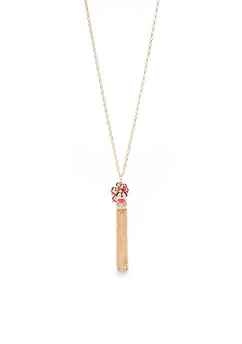 Crown & Ivy™ Gold-Tone Preppy Picnic Tassel Pendant