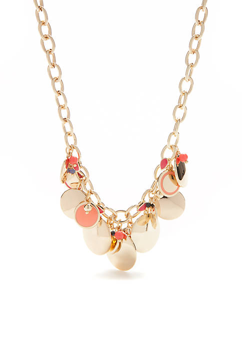 Crown & Ivy™ Gold-Tone Metal Discs Necklace