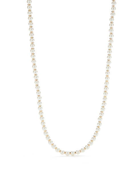 Crown & Ivy™ Gold-Tone Single Pearl Necklace
