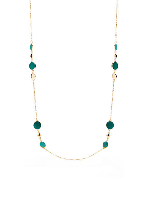 Crown & Ivy™ Gold-Tone Blue Stone Long Necklace