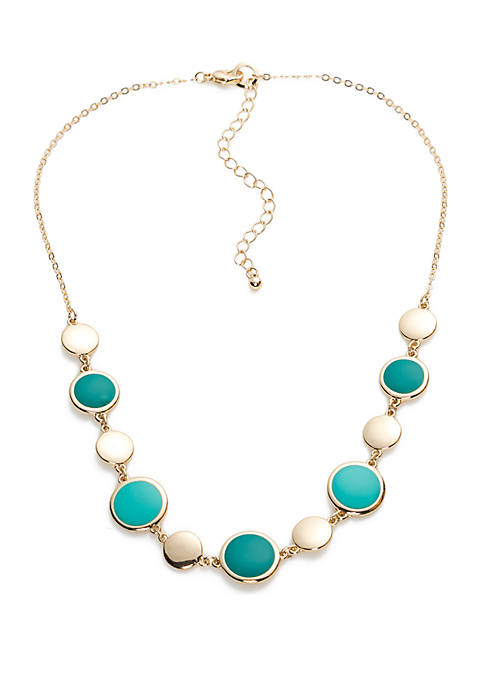 Crown & Ivy™ Short Turquoise Single Strand Necklace