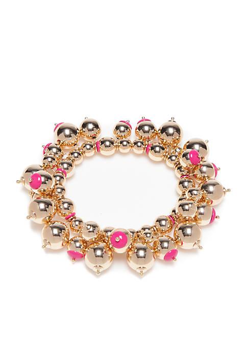 Crown & Ivy™ Gold-Tone Preppy Picnic Stretch Bracelet
