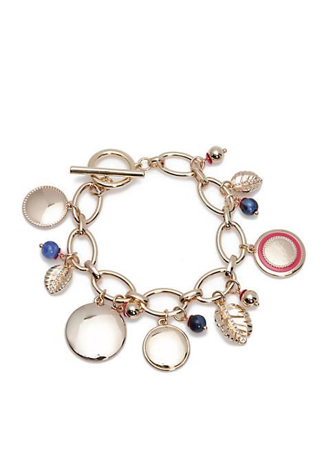 Crown & Ivy™ Gold-Tone Charm Leaf Toggle Bracelet