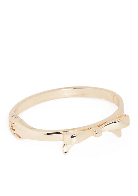 Crown & Ivy™ Gold-Tone Bow Hinge Bracelet