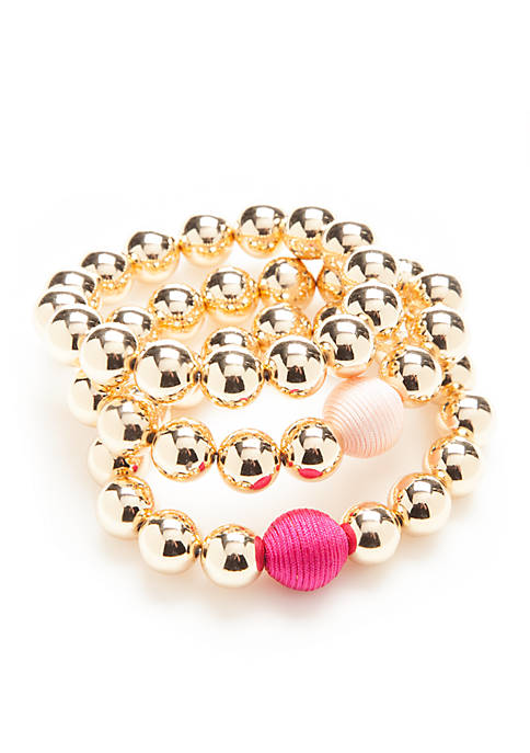 Crown & Ivy™ Gold-Tone Flora Wrap Beaded Bracelet