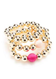 Gold-Tone Flora Wrap Beaded Bracelet