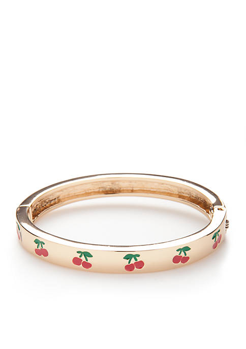 Crown & Ivy™ Gold-Tone Cherry Motif Bangle Bracelet