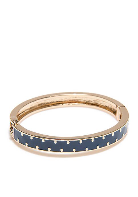 Crown & Ivy™ Gold-Tone Polka Dot Navy Bangle