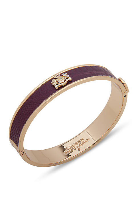 Gold-Tone Burgundy Inlay Bangle Bracelet
