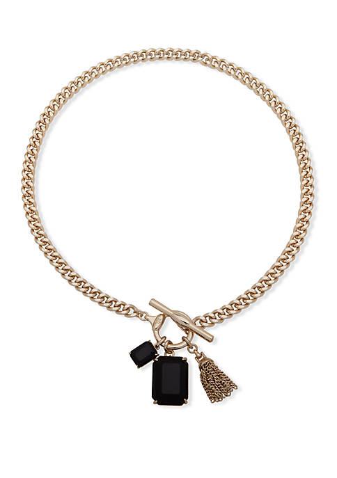 Lauren Ralph Lauren Gold Tone Stone Toggle Pendant
