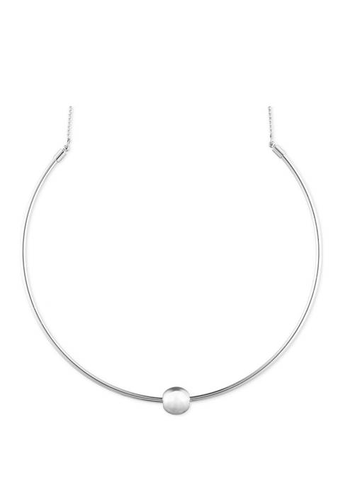 Gold Tone Metal Ball Collar Necklace